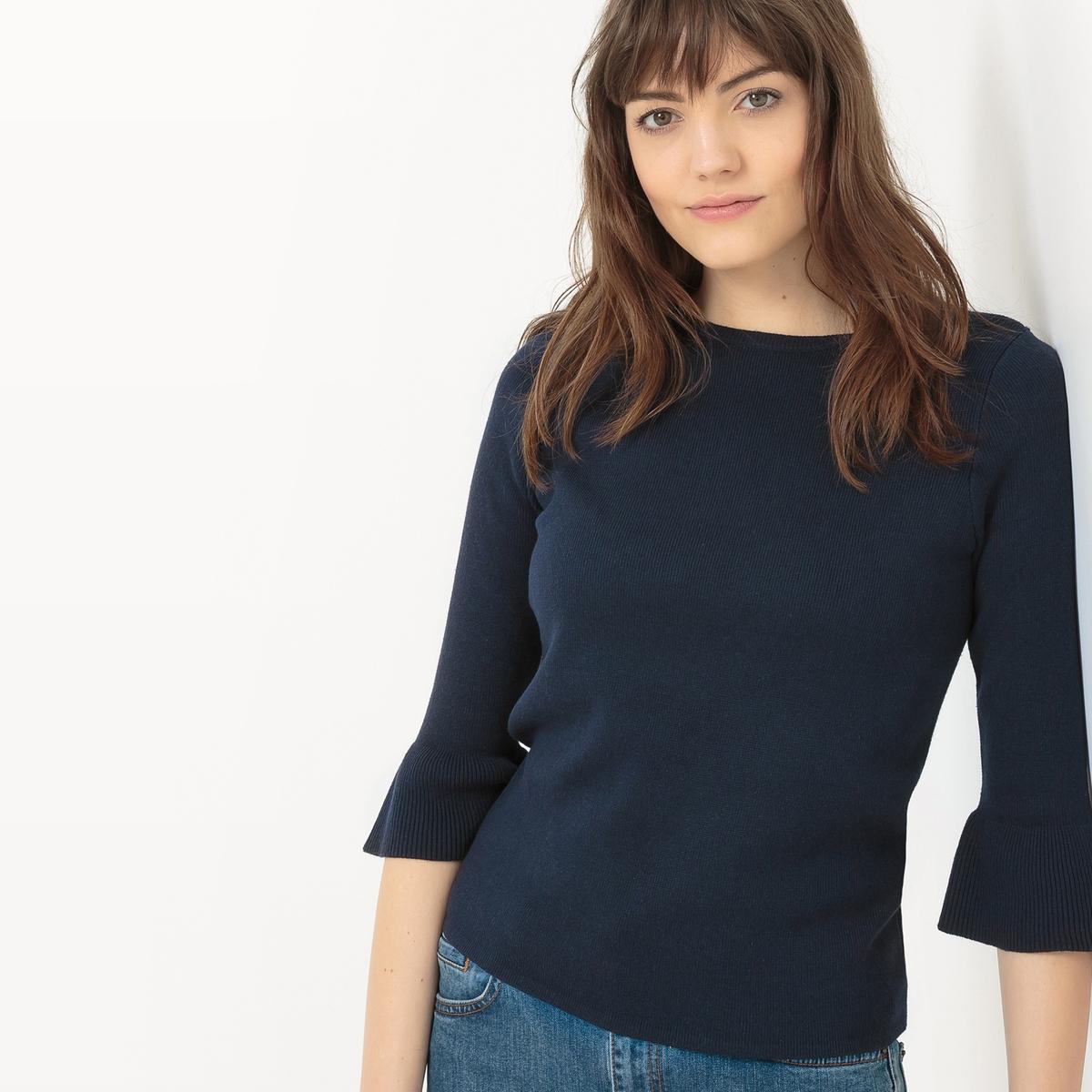 Пуловер с расширяющимися рукавамиМатериал : 60% вискозы, 40% хлопка  Длина рукава : рукава 3/4  Форма воротника : круглый вырез  Покрой пуловера : стандартный  Рисунок : однотонная модель<br><br>Цвет: синий морской,экрю<br>Размер: L.S.S