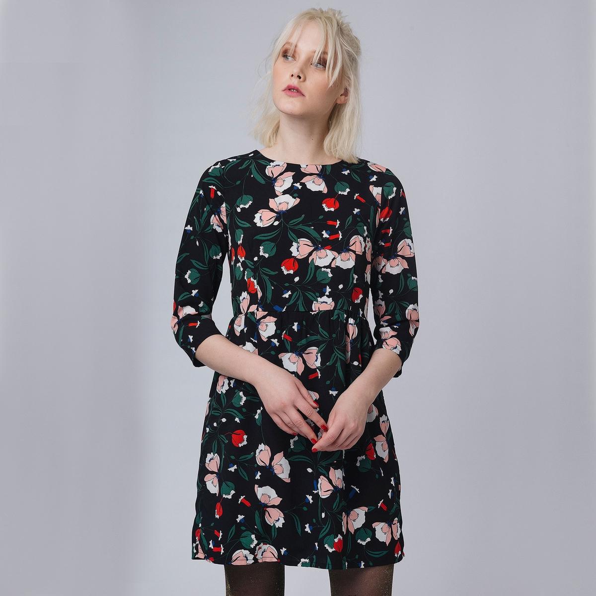 Платье укороченнное с рукавами 3/4 и цветочным рисунком леонид трумекальн зарисовки по ходу