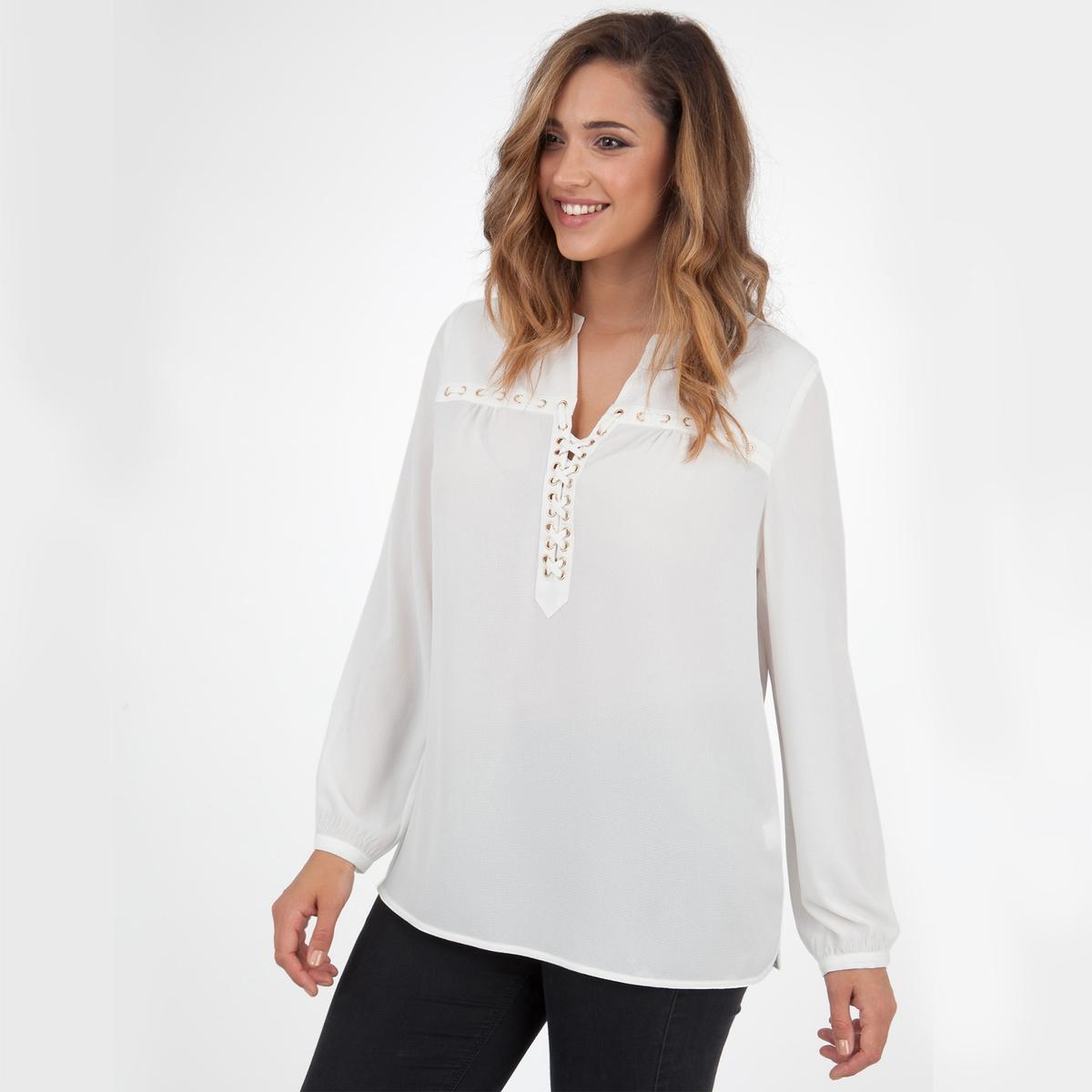 БлузкаБлузка с длинными рукавами LOVEDROBE.  Красивая блузка с эффектом шнуровки спереди  . 100% полиэстер<br><br>Цвет: слоновая кость<br>Размер: 46 (FR) - 52 (RUS)