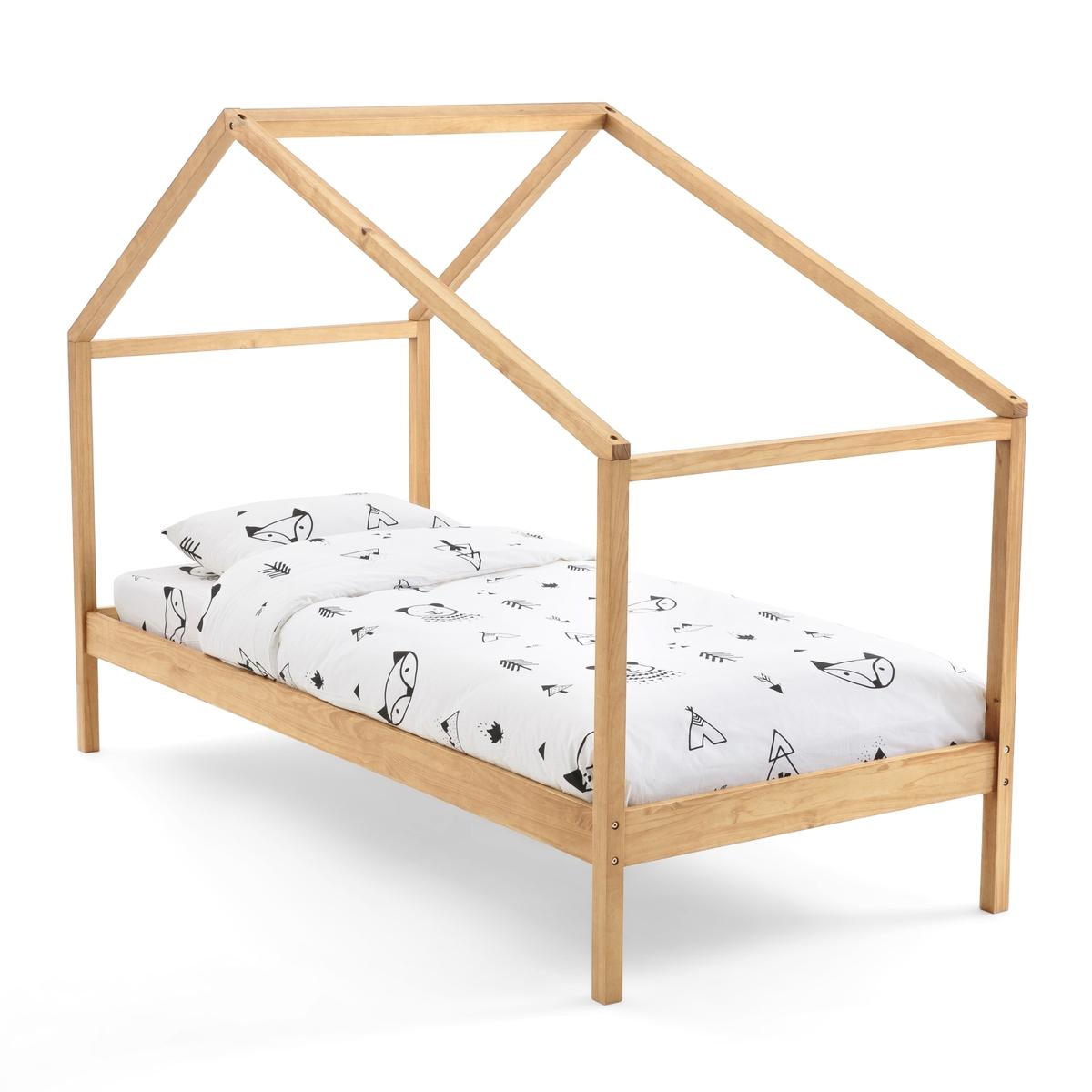 Кровать La Redoute Из массива сосны с пологом и основанием Spidou 90 x 190 см каштановый