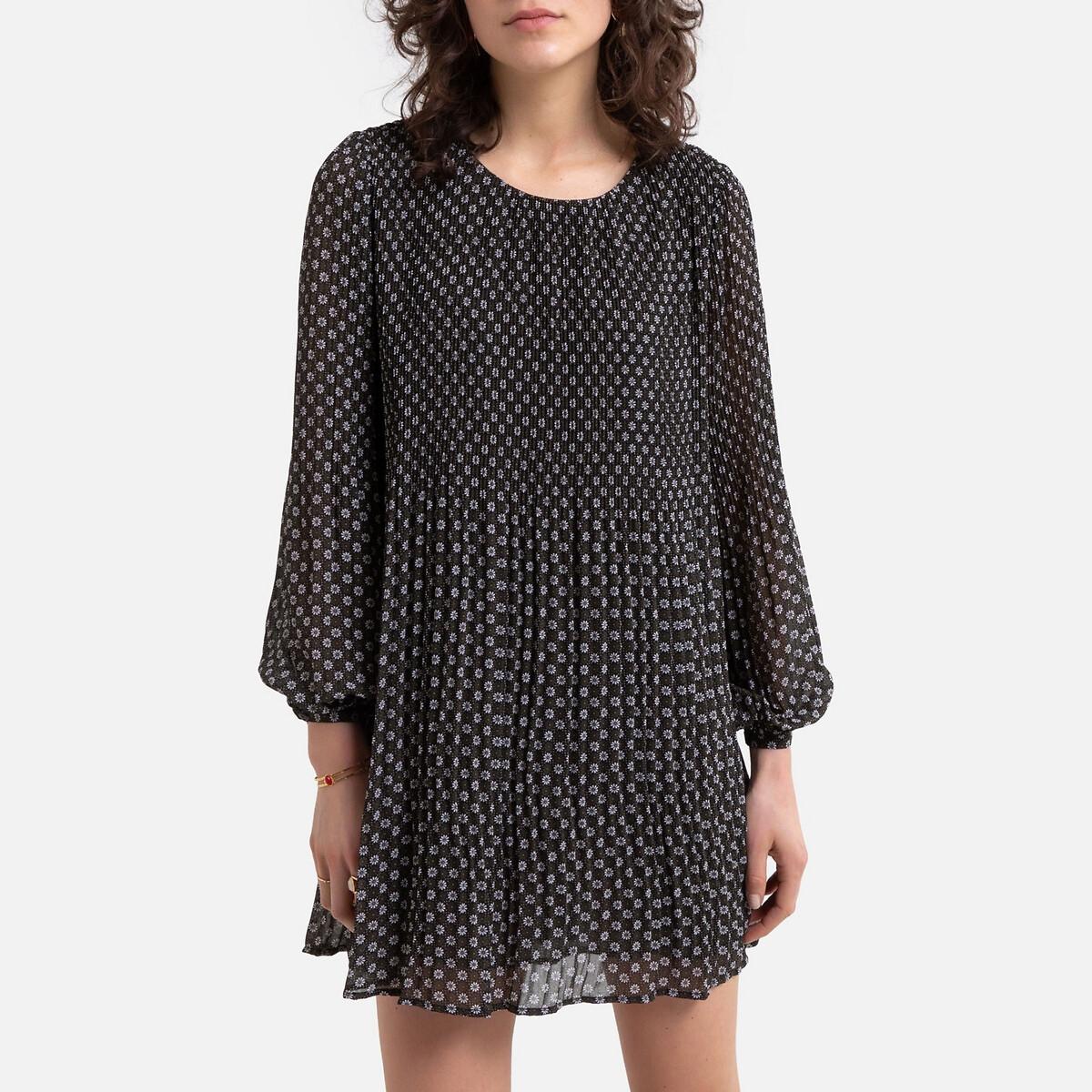 Платье La Redoute Короткое прямое с графическим рисунком S черный
