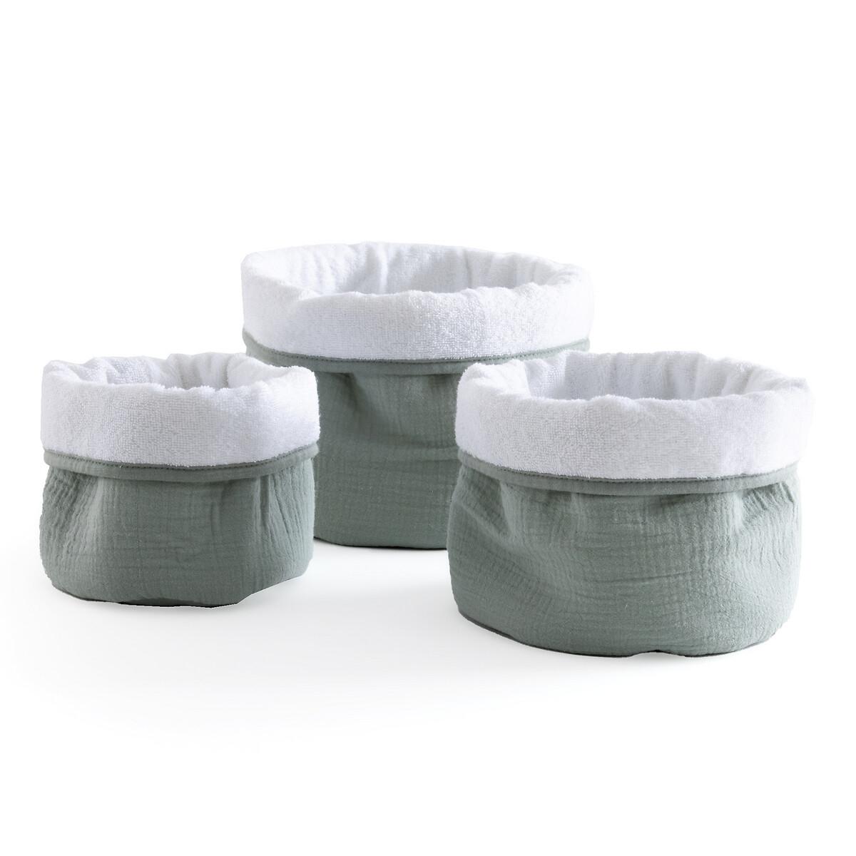 Фото - Комплект из 3 корзин из LaRedoute Хлопчатобумажной газовой ткани Kumla единый размер зеленый покрывало la redoute кроватное из газовой ткани биохлопок cuddly единый размер розовый