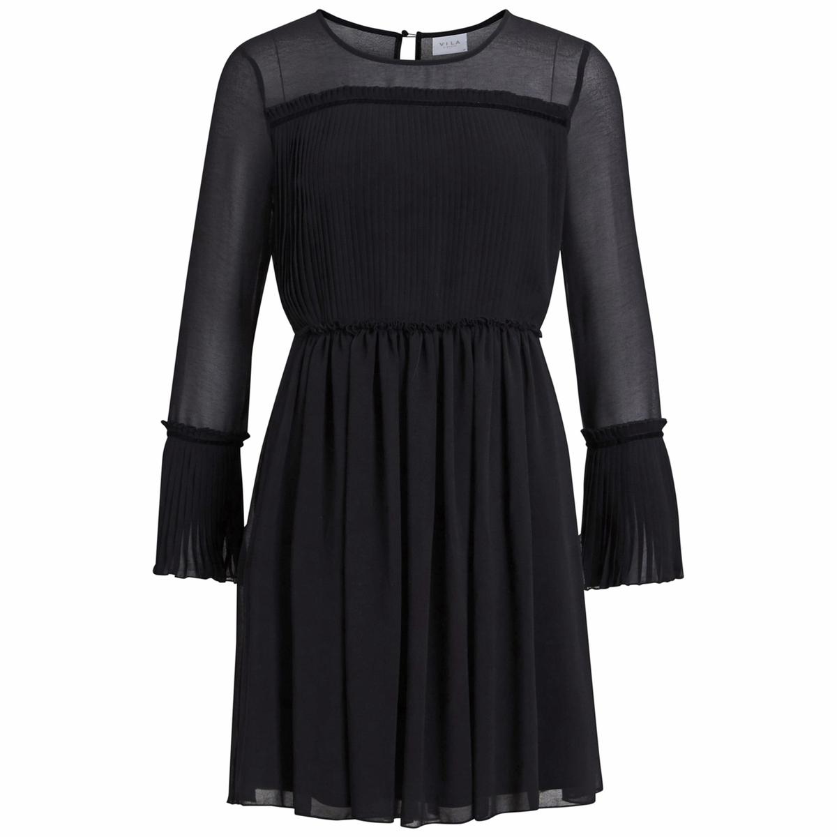 Платье-миди, длина 3/4, длинные рукаваДетали •  Форма : с плиссировкой •  Длина миди, 3/4 •  Длинные рукава    •  Круглый вырез Состав и уход •  100% полиэстер •  Следуйте рекомендациям по уходу, указанным на этикетке изделия<br><br>Цвет: черный<br>Размер: M