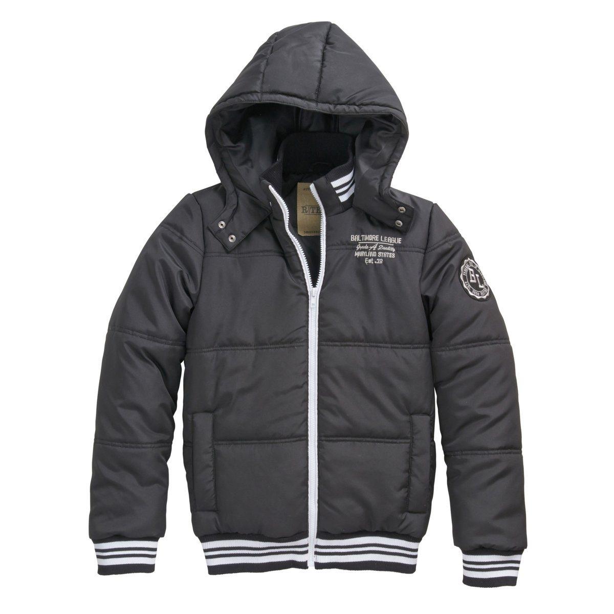 Куртка стеганая с капюшономСтеганая куртка из 100 % полиэстера с водоотталкивающим эффектом. На теплой подкладке. Удобный капюшон защитит от ветра и холода, застежка на кнопки. Вышивка на груди и нашивка на рукаве. 2 передних кармана. Края связаны в рубчик.<br><br>Цвет: черный<br>Размер: 16 лет - 174 см