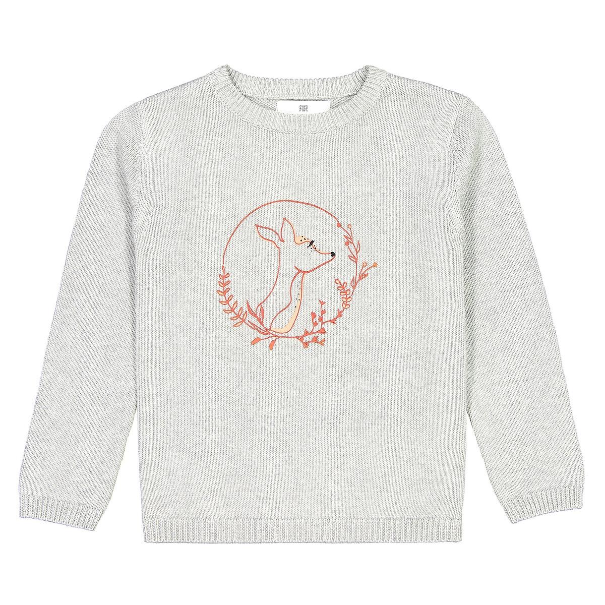 Пуловер La Redoute С круглым вырезом из тонкого трикотажа с принтом 12 лет -150 см серый пижама la redoute с шортами и цветочным принтом 12 лет 150 см другие