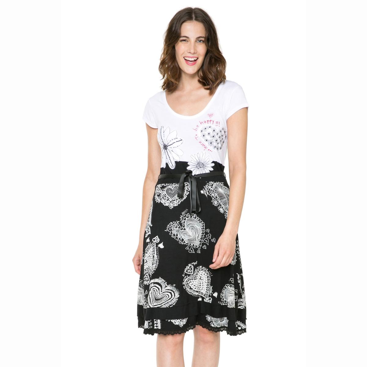 Платье с короткими рукавами, на поясе, двухцветное DESIGUAL, Vest Roxana платье с короткими рукавами на поясе двухцветное desigual vest roxana