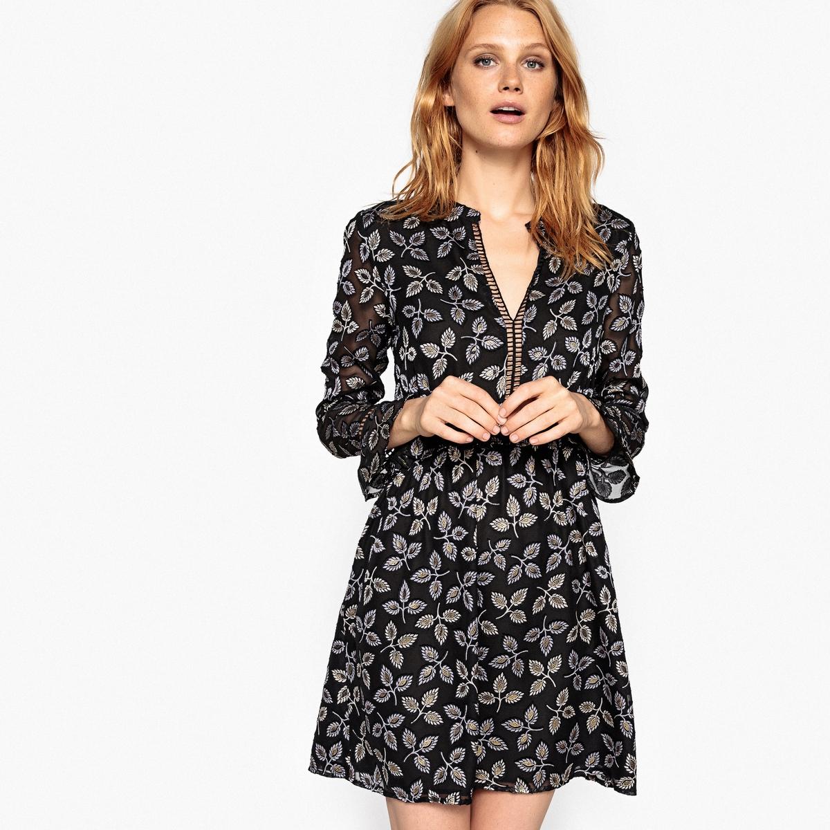 Платье La Redoute С рисунком из золотистых листьев и ажурным вырезом 48 (FR) - 54 (RUS) черный брюки la redoute узкие дудочки с жаккардовым рисунком 50 fr 56 rus черный