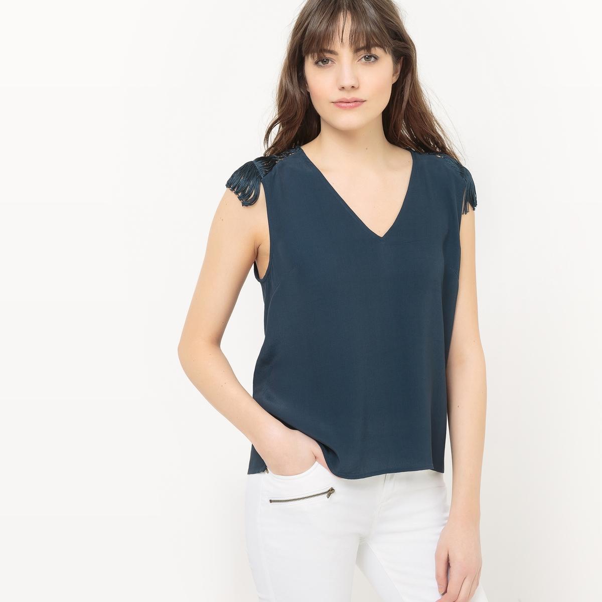 Блузка с короткими рукавами, ажурная спинка цена 2016