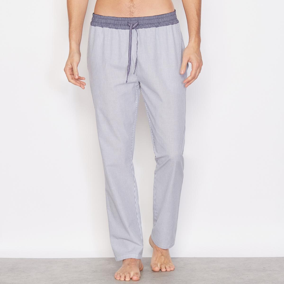 Брюки пижамные в полоску, 100% хлопкаПижамные брюки в тонкую полоску, прямой покрой, эластичный пояс с контрастными завязками.  Состав &amp; описание:Материал: 100% хлопка.Марка: R essentiels.Уход:Машинная стирка при 30°.<br><br>Цвет: синий/ в полоску<br>Размер: 44/46.56/58