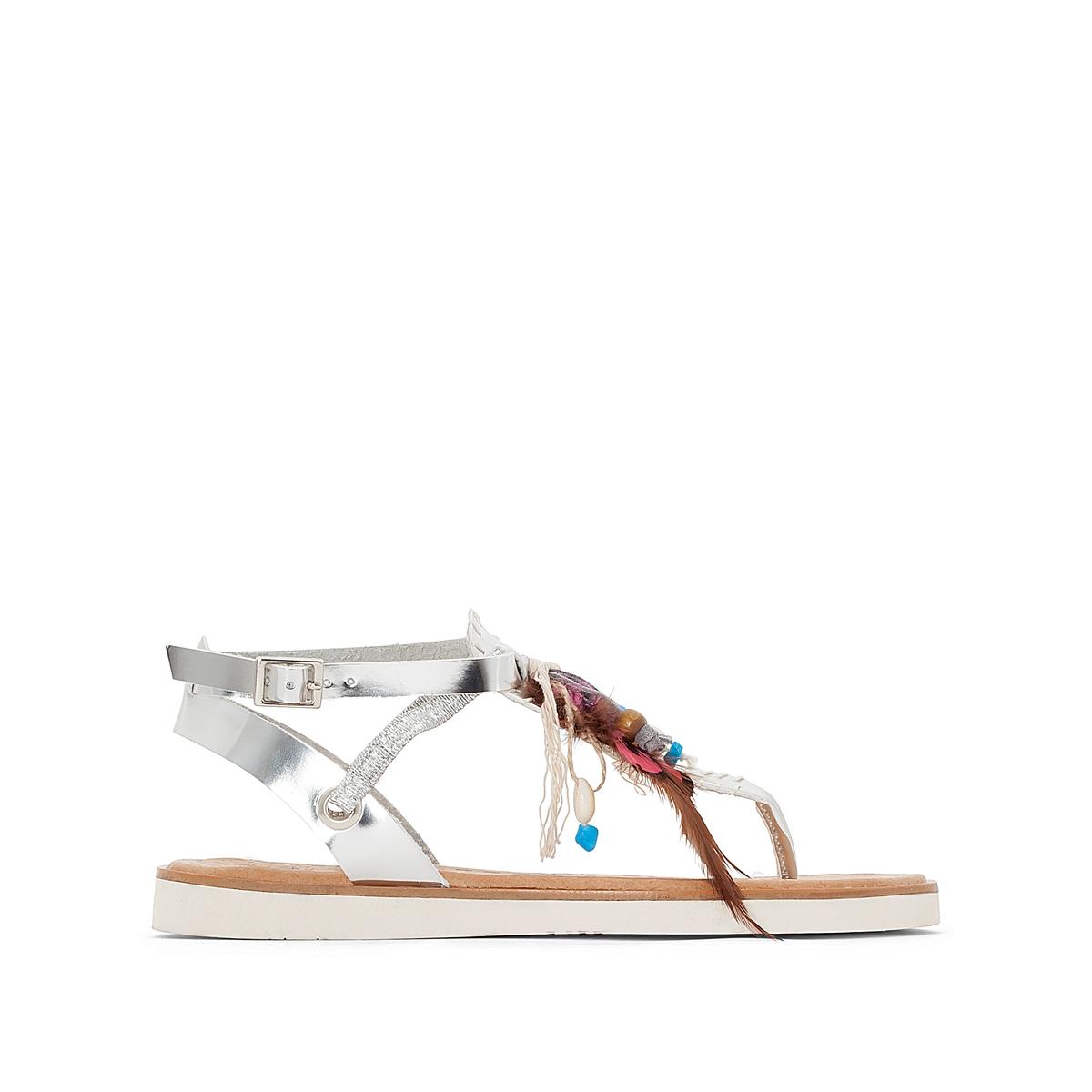 Босоножки HonoluluВерх/Голенище : синтетика Стелька : кожа  Подошва : каучук   Форма каблука : плоский каблук  Мысок : закругленный мысок  Застежка : пряжка<br><br>Цвет: каштановый,серебристый,черный