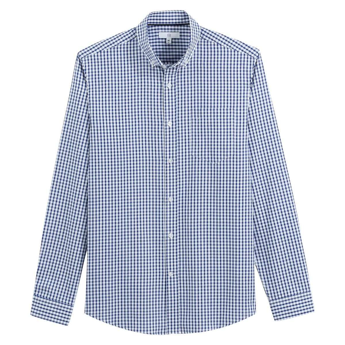 Camisa recta de manga larga con estampado vichy