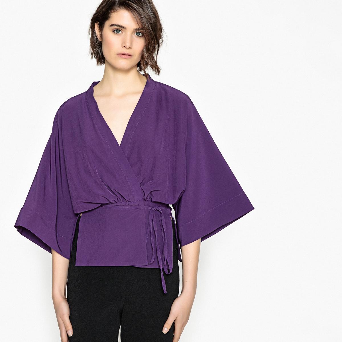 Жакет тонкий в стиле кимоно с поясом и рукавами 3/4 жакет кимоно