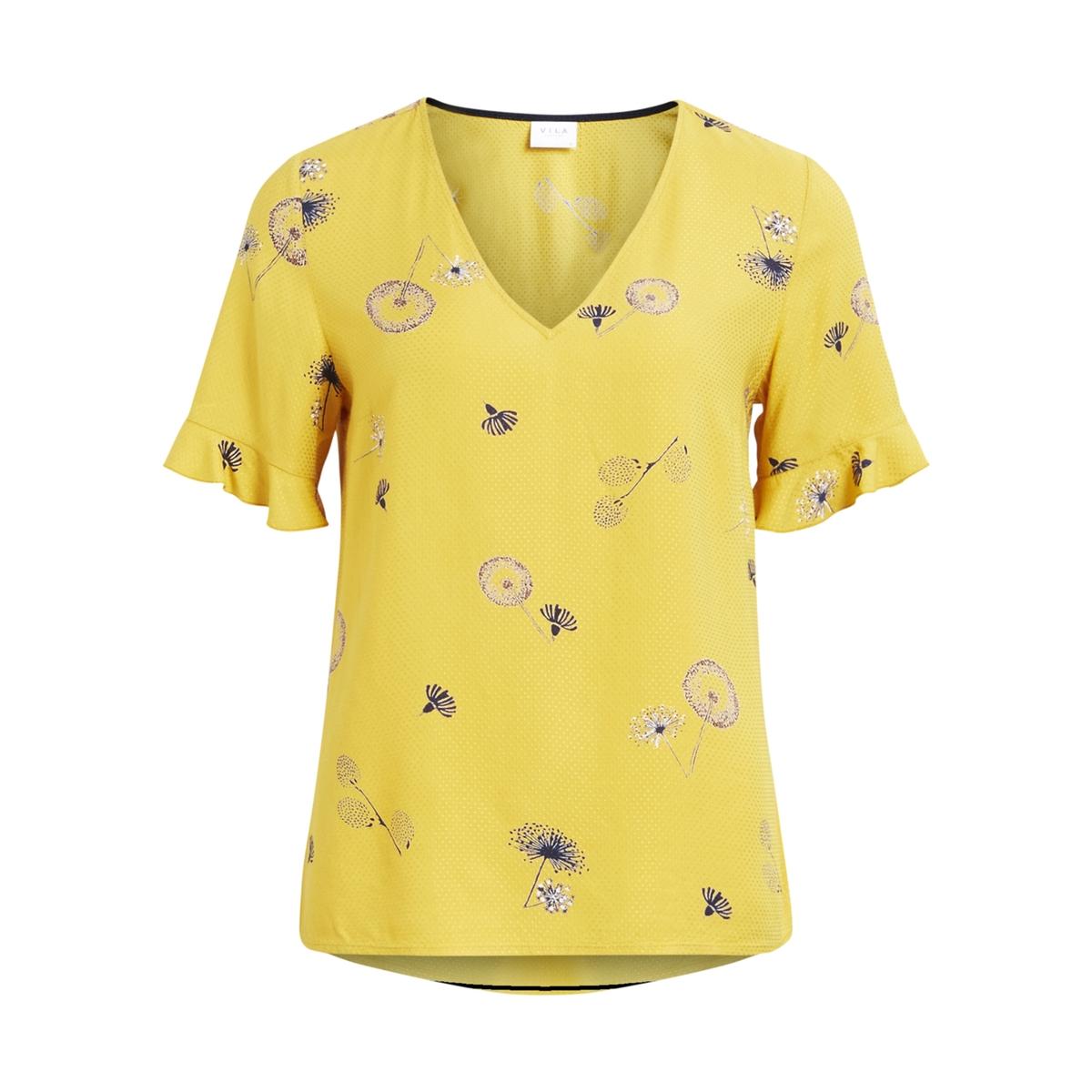 Блузка с V-образным вырезом, рисунком и короткими рукавамиДетали •  Короткие рукава •   V-образный вырез •  Рисунок-принтСостав и уход •  100% вискоза •  Следуйте советам по уходу, указанным на этикетке<br><br>Цвет: желтый шафран<br>Размер: M