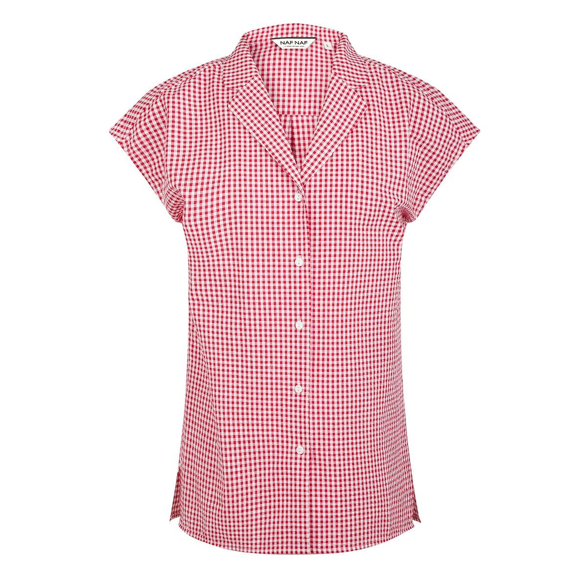 Блуза La Redoute С короткими рукавами в клетку 40 (FR) - 46 (RUS) красный пальто la redoute в клетку 34 fr 40 rus каштановый