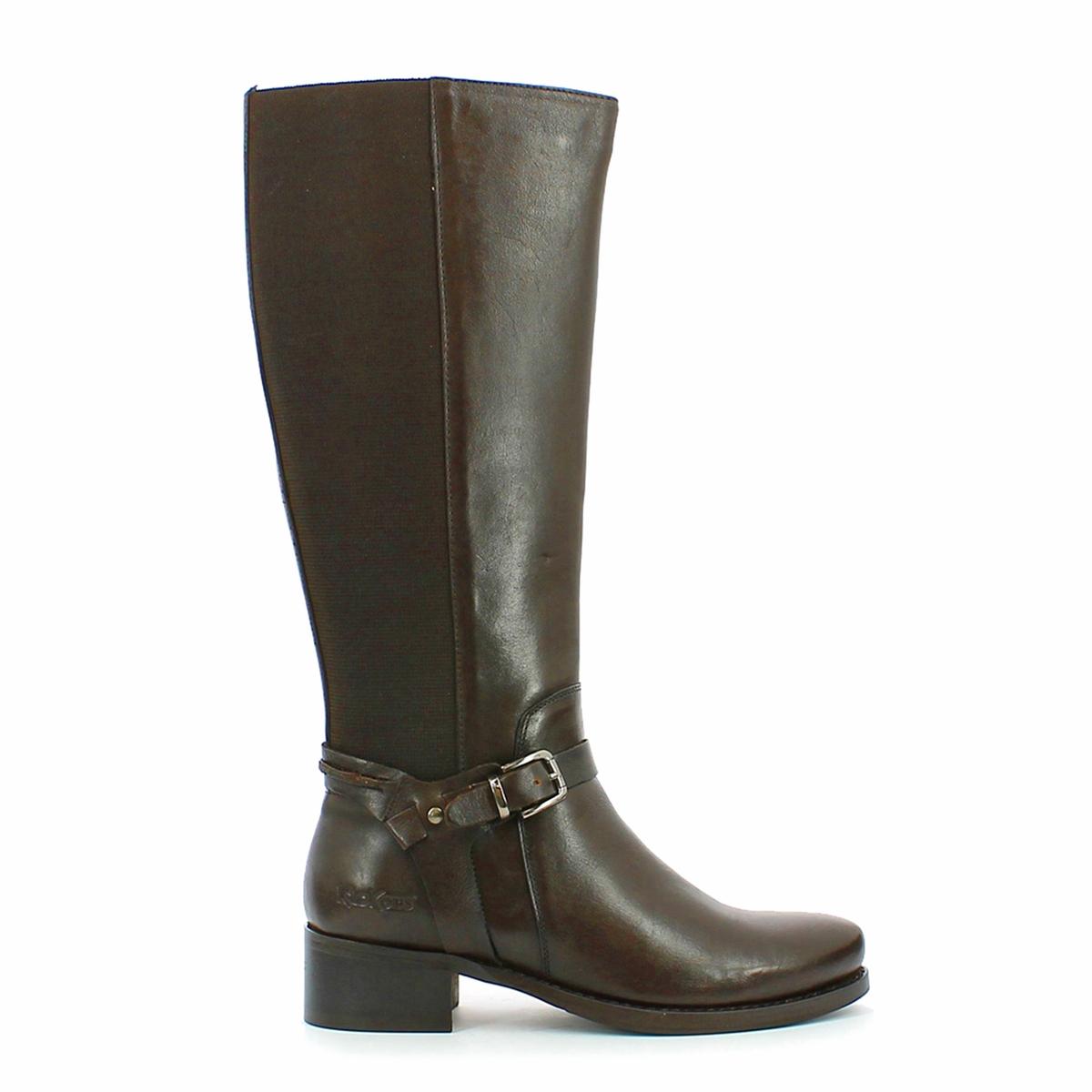 Сапоги кожаные с пряжкой EtriВерх : кожа   Подкладка : текстиль   Стелька : кожа   Подошва : синтетика   Высота голенища : 38 см   Высота каблука : 3,5 см   Застежка : молния<br><br>Цвет: каштановый,черный
