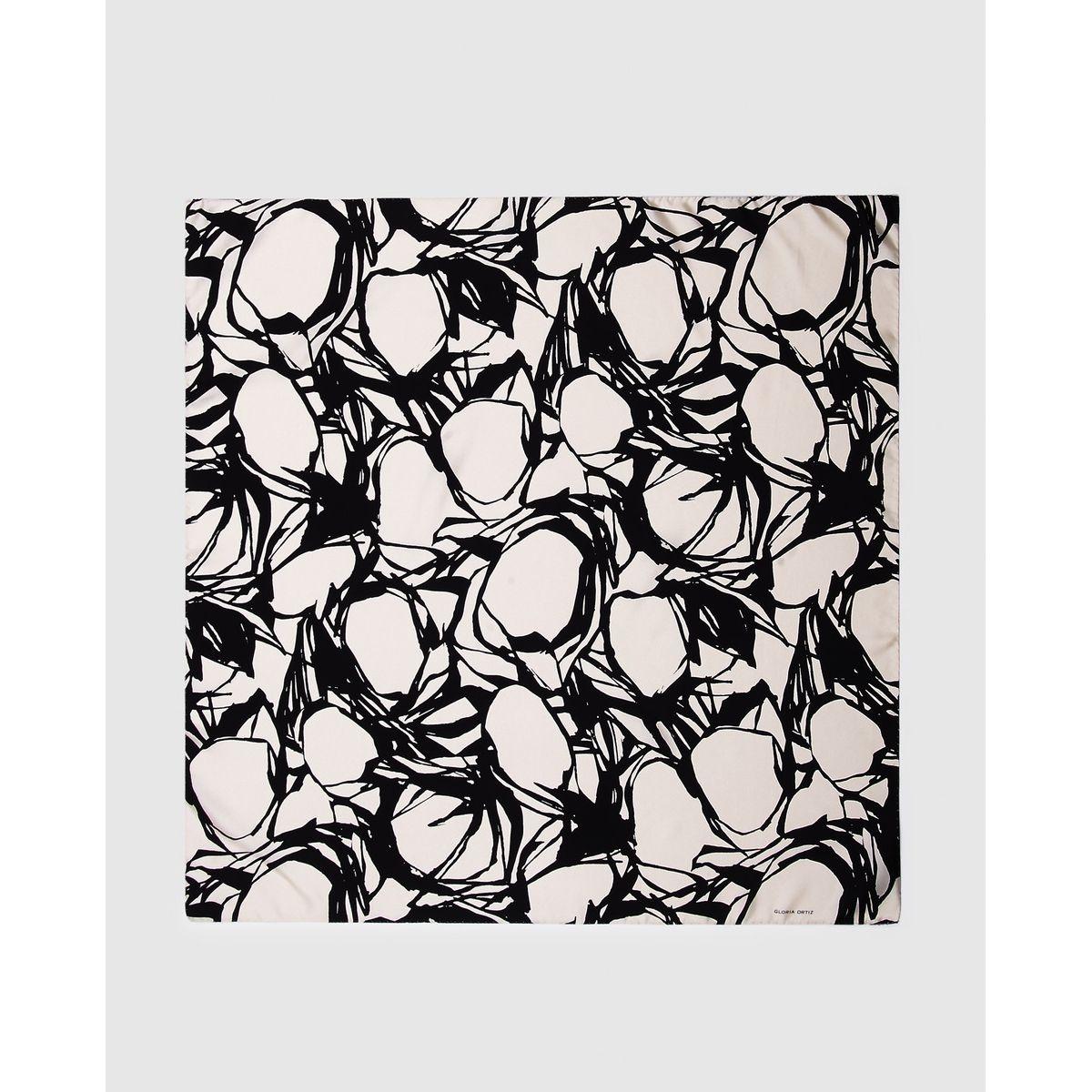 Foulard Aloe en soie à imprimé fantaisie