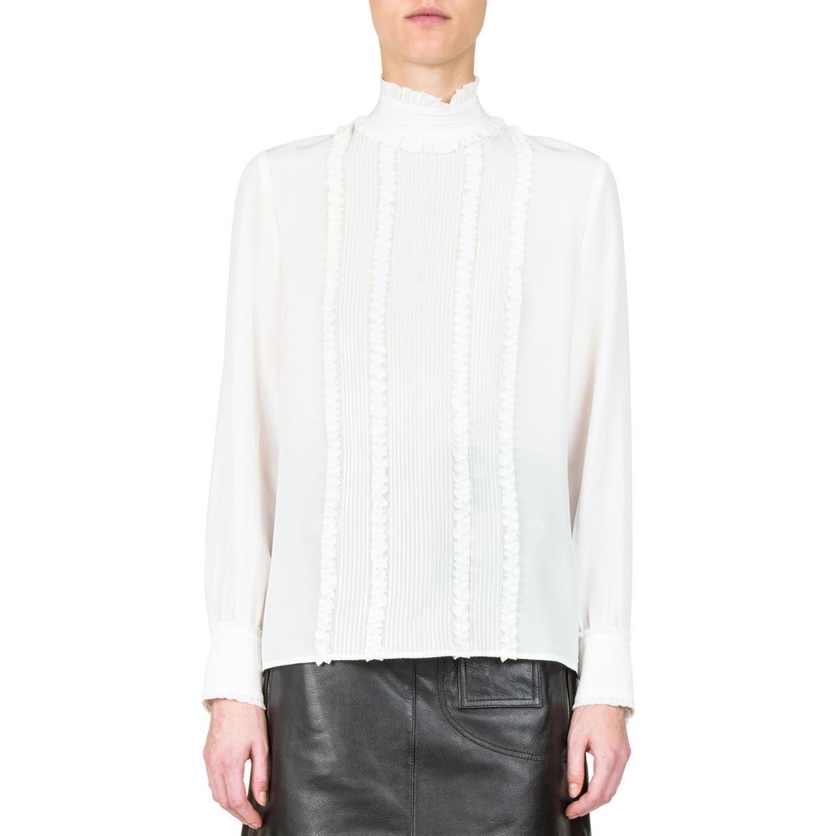 Блузка из шелка с длинными рукавами