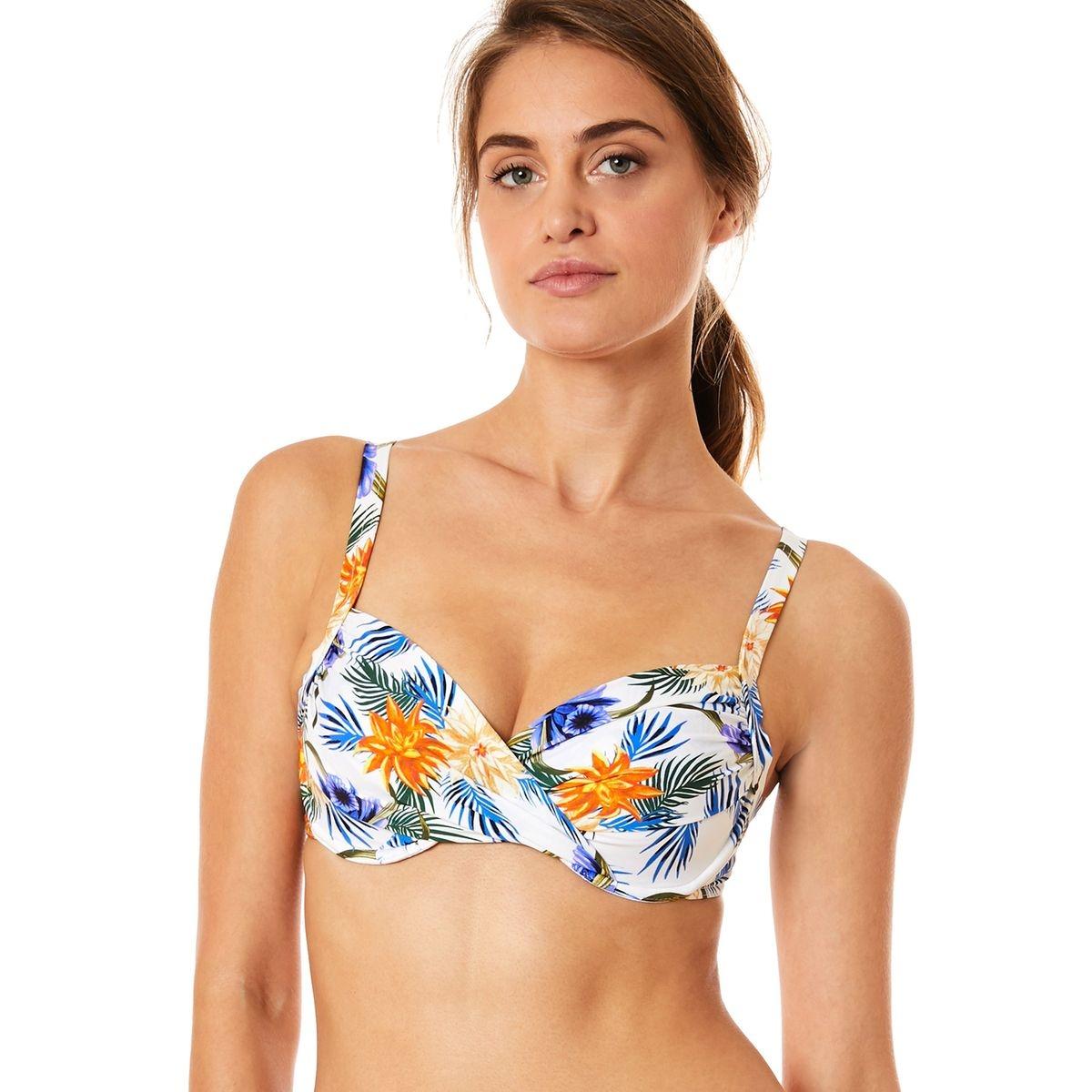 Haut de maillot de bain 2 pieces imprime retro tropical SASKIA PERGOLA Bonnet C