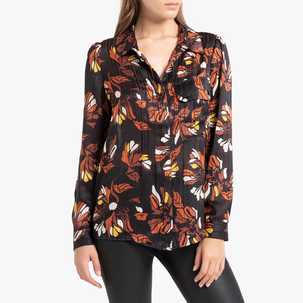 Блузка La Redoute С рисунком и длинными рукавами AVA 1(S) черный блуза la redoute с рисунком и длинными рукавами s синий