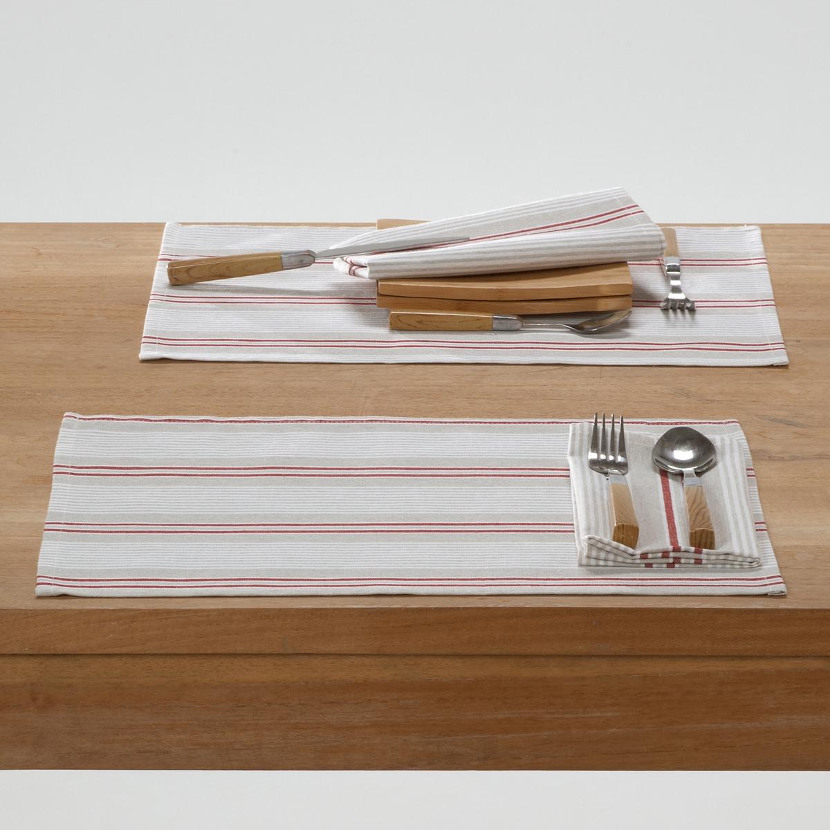 Комплект из 2-х салфеток под столовый прибор,  FERM.Комплект из 2-х салфеток в полоску под столовый прибор,  FERM. Салфетки в полоску под столовый прибор совмещают в себе простоту и изысканность. Вы оцените пропитку от пятен, они станут Вашими помощниками и для званого ужина, и для импровизированных встреч за столом.Характеристики:Материал: 80% хлопка, 20% полиэстера.Уход: машинная стирка при 60°С.Отделка: подрубленные края.Обработка против пятен.Ткань из окрашенных волокон. Поликоттон.Размеры:- 35 см x 45 см.<br><br>Цвет: бежевый/красный<br>Размер: единый размер