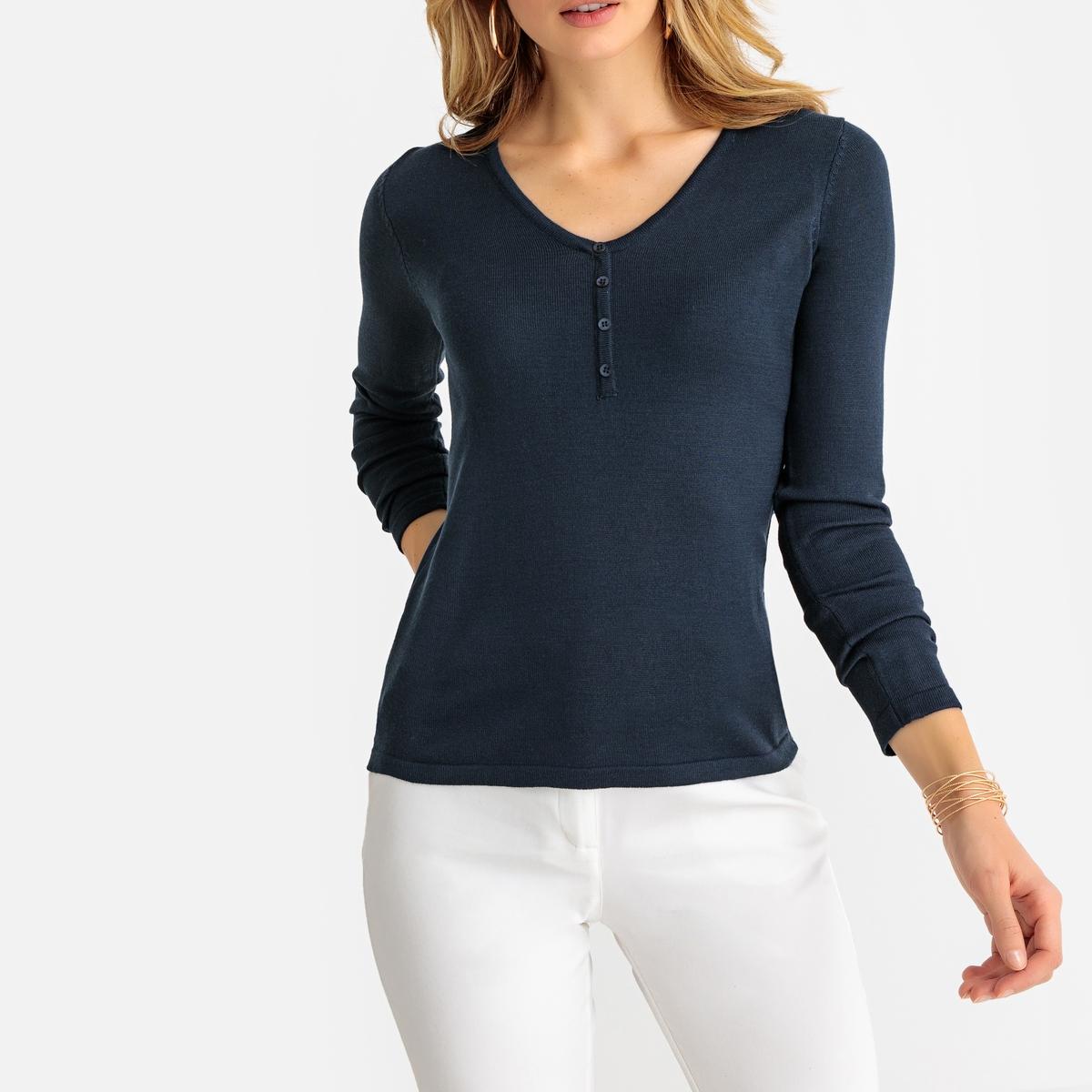 Пуловер с V-образным вырезом и длинными рукавами из тонкого трикотажа