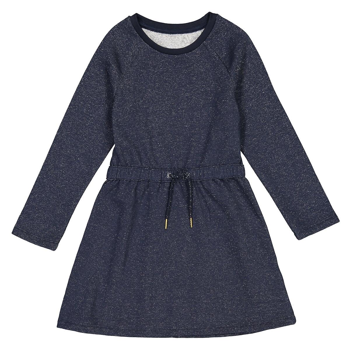 Vestido de mangas compridas em moletão, 3-12 anos