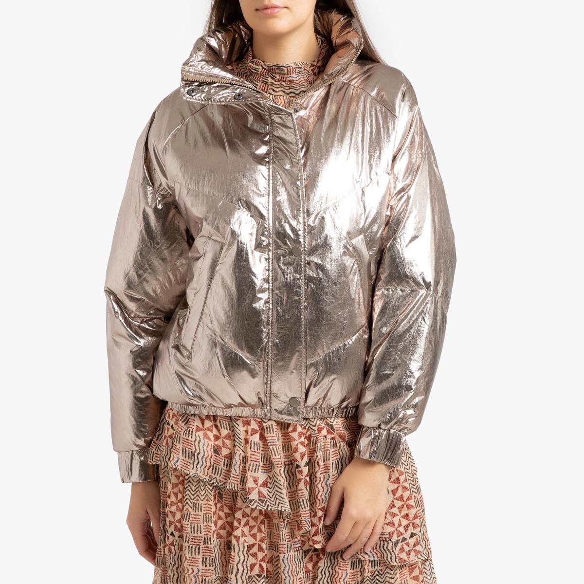 Куртка La Redoute Стеганая на молнии DARCY 1(S) золотистый куртка la redoute стеганая короткая nebraska с воротником стойкой на молнии s синий