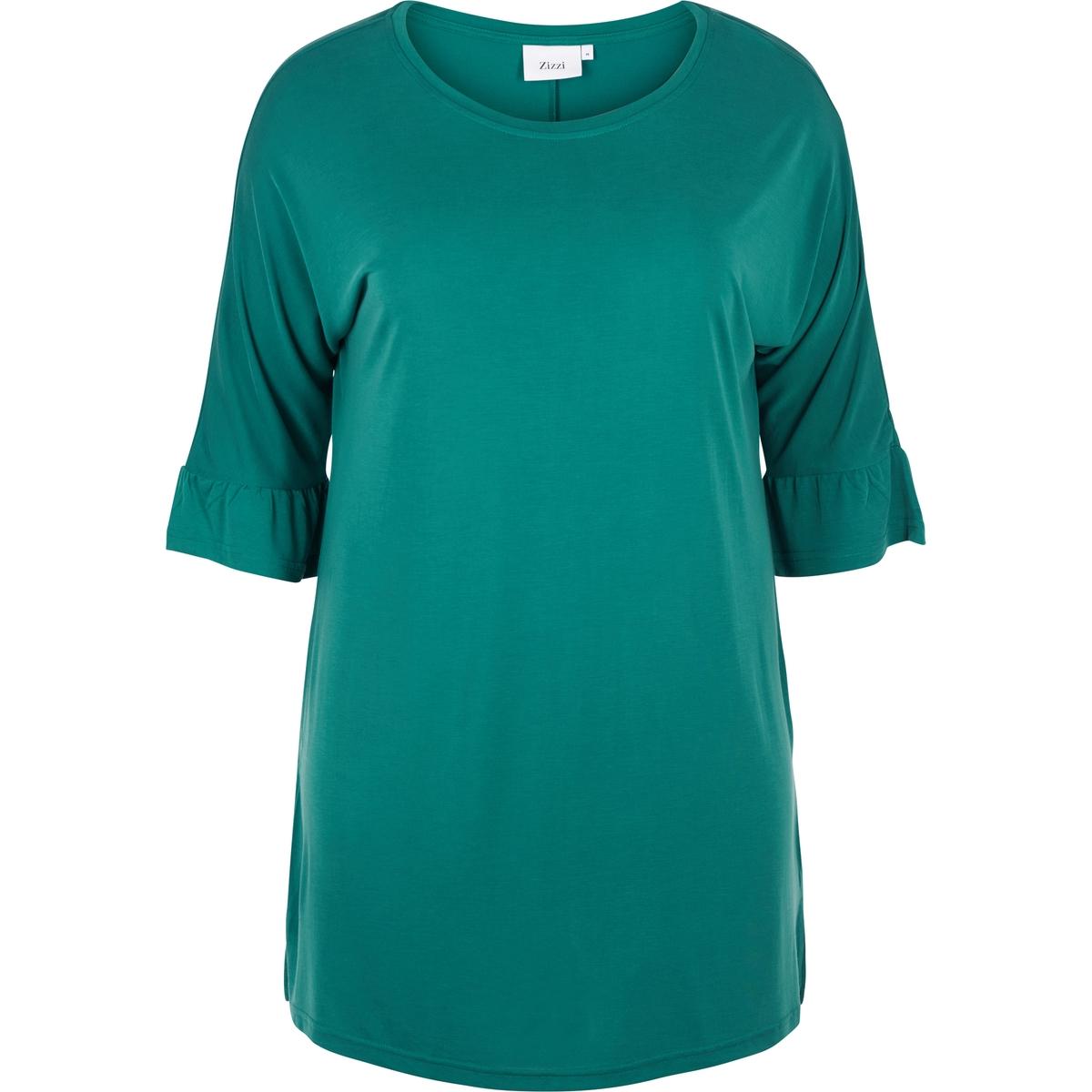 Блузка однотонная с круглым вырезом, с короткими рукавами блузка с круглым вырезом и короткими рукавами