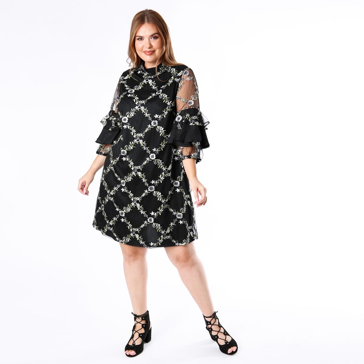 Платье с воротником-стойкой, цветочным рисунком и воланами платье с цветочным рисунком и небольшими воланами в полоску спереди