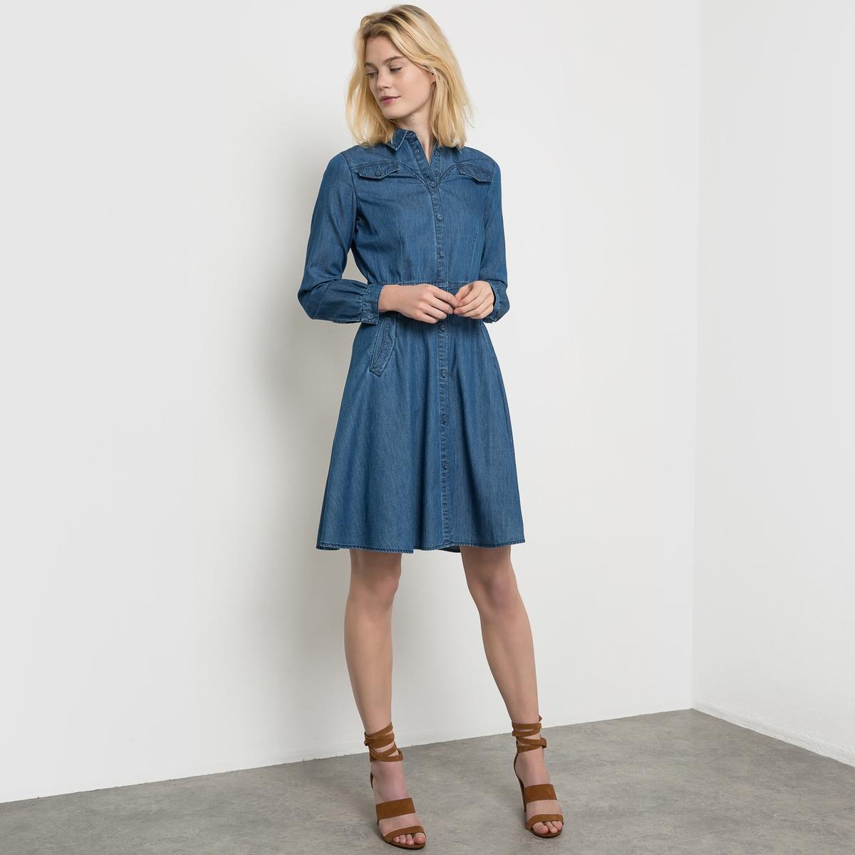 Платье из денимаРазмер 40: Длина по спинке: 102 смРазмер 38: Длина по спинке: 99 см<br><br>Цвет: синий потертый