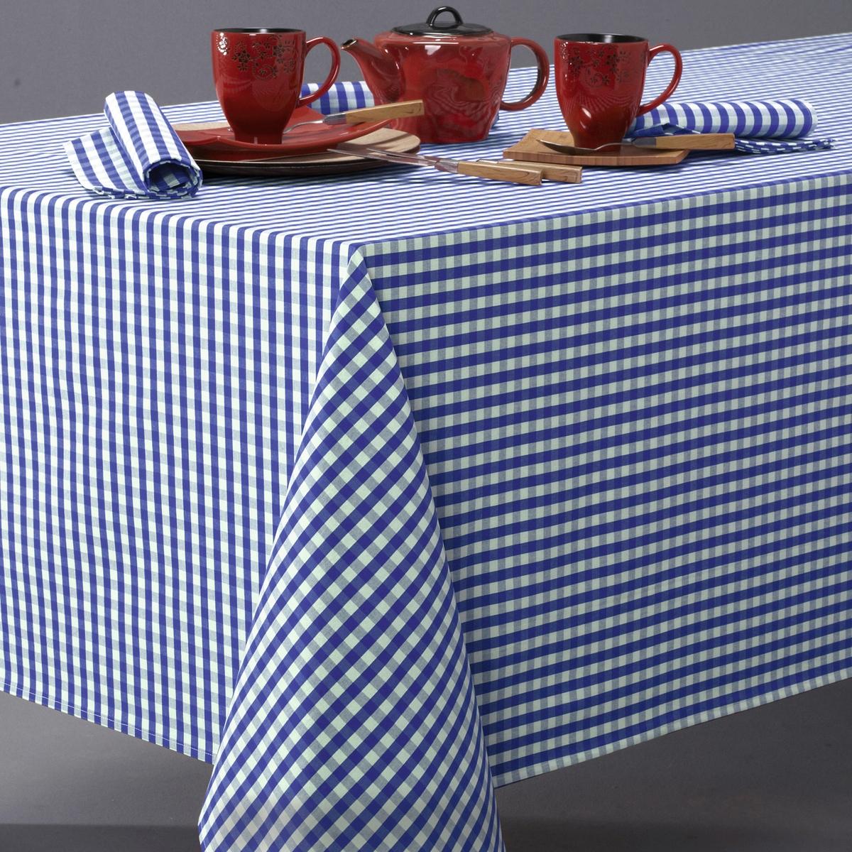 Скатерть в клетку виши, 100% хлопок с окрашенными волокнами, GARDEN PARTYВсегда модный рисунок в деревенском стиле, 3 цвета, для повседневного использования ! Машинная стирка при 40 °С.Текстиль для столовой, 100% хлопок с окрашенными волокнами : гарантия качества и долговечности.<br><br>Цвет: синий/ белый<br>Размер: 150 x 250  см