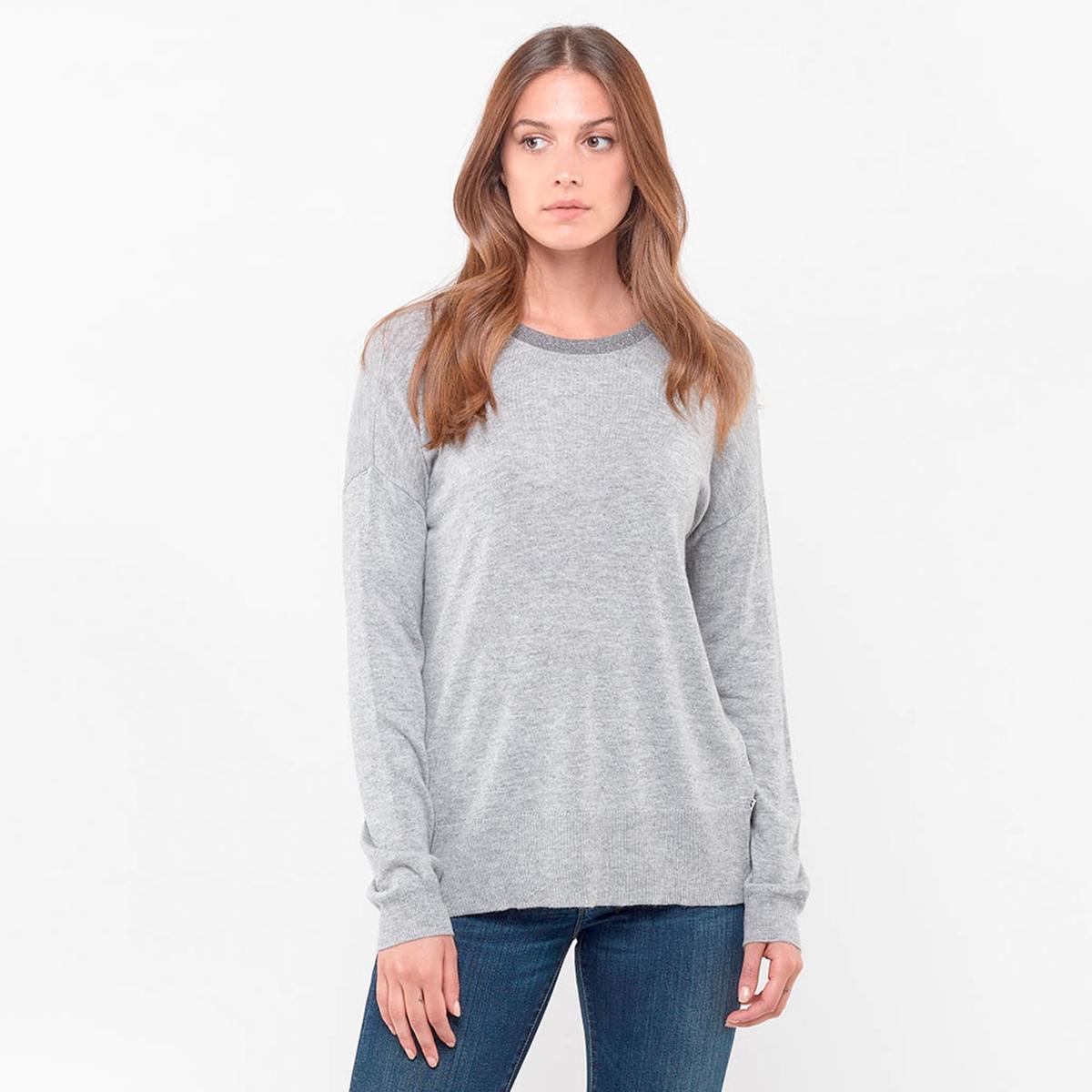 Пуловер La Redoute С круглым вырезом с волокнами с металлическим блеском и вырезом с бантом сзади L серый пуловер la redoute с круглым вырезом из шерсти мериноса pascal 3xl черный