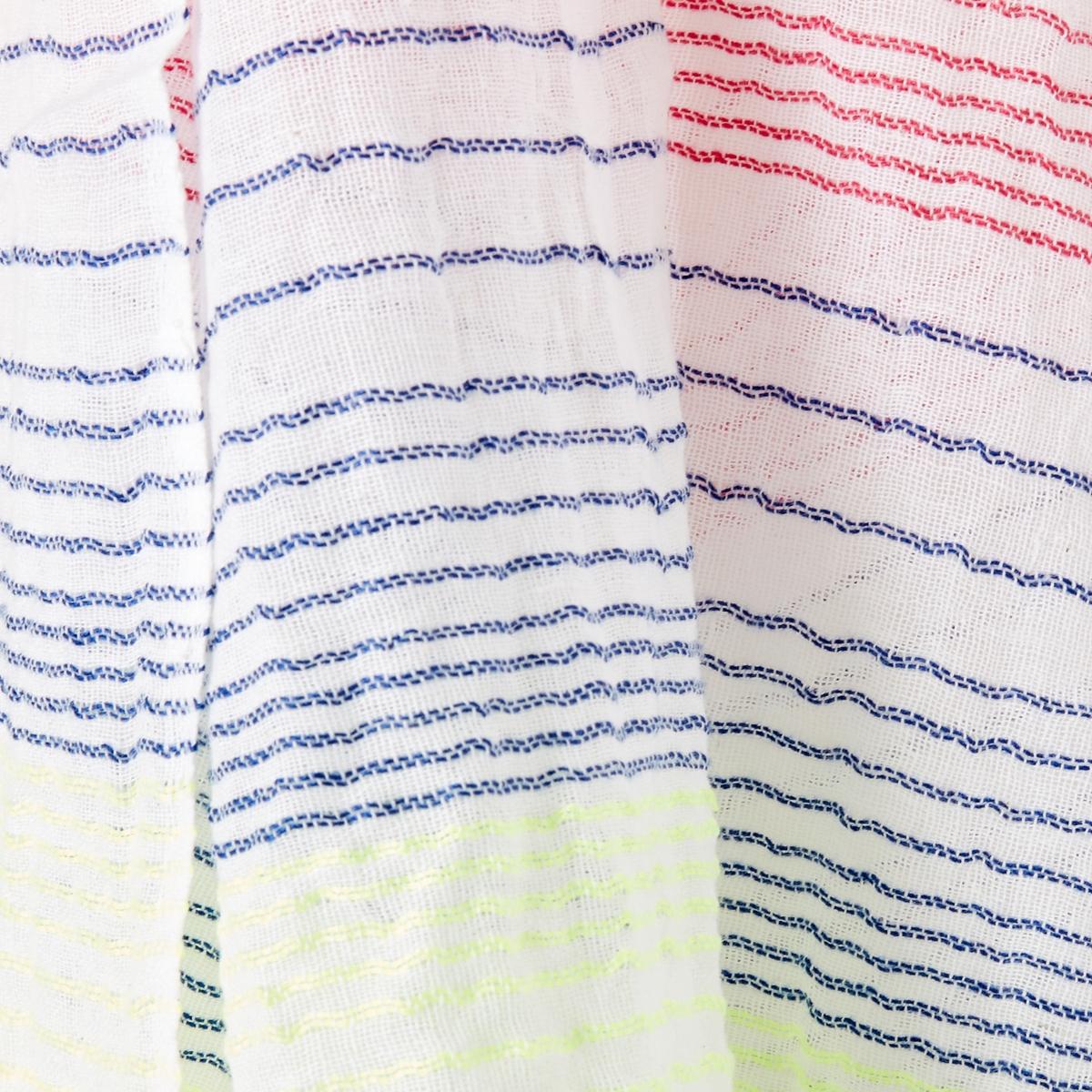 Платок в полоскуОписание:Платок с замечательным рисунком в тонкую блестящую полоску в богемном стиле. Платок можно сочетать с нашими любимыми джинсами! Состав и описание :Платок с рисунком. Рисунок в полоску.Флуоресцентные швы.Материал : полиэстерРазмер : 70 х 188 смУход :Следуйте рекомендациям по уходу, указанным на этикетке изделия.<br><br>Цвет: белый/яркий цвет