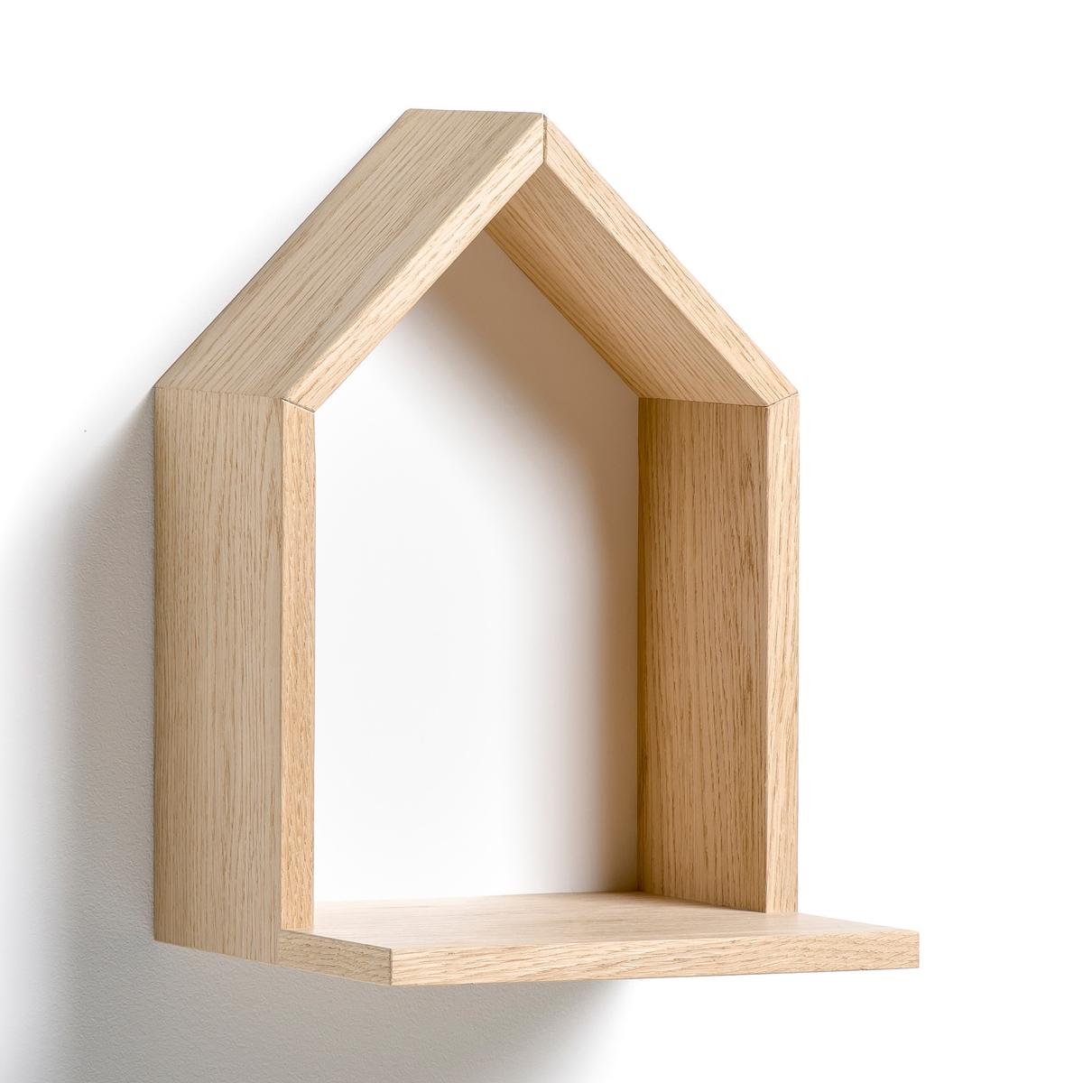 Полка Bosaka, маленькая модель, В.30 смПолка в форме домика, навесная . Характеристики :- Из МДФ, покрытого дубовым шпоном, боковые стороны из ДСП, покрытой дубовым шпоном, дно из окрашенного МДФ. - 2 пластины для крепления на стену (саморезы и дюбели продаются отдельно). Размеры  :-  Ш.20 x В.30 см x Г.22 см.<br><br>Цвет: белый,желтый