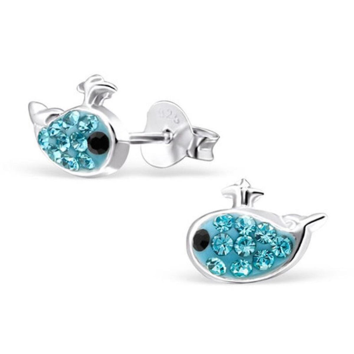 Boucles d'oreilles Baleine Mobidic Strass Bleu Argent 925