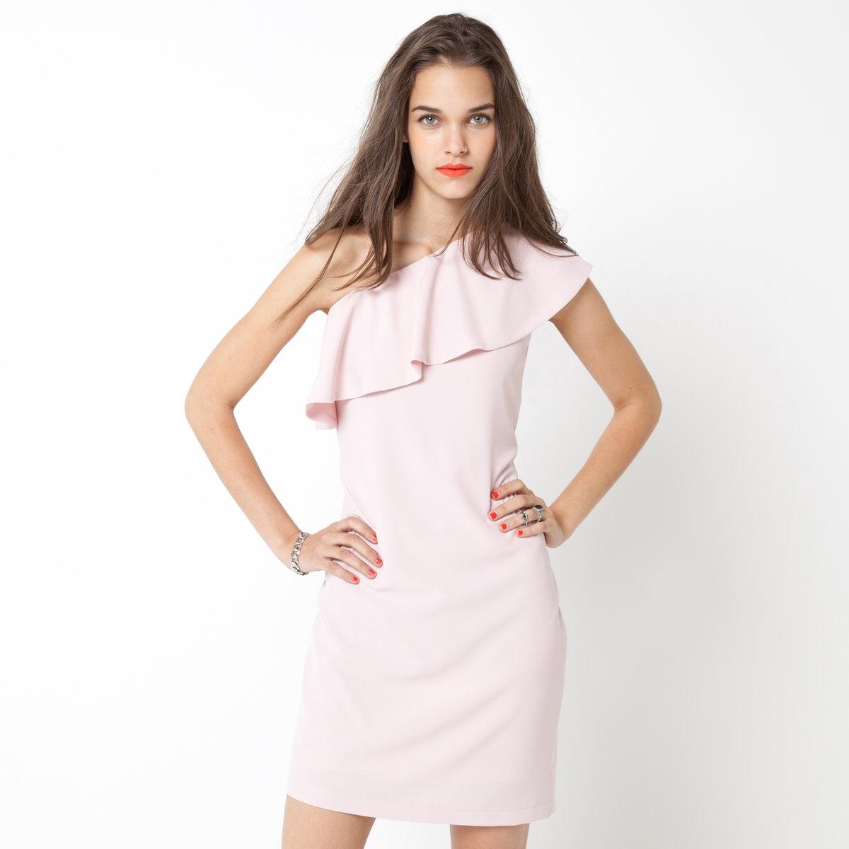 Платье асимметричноеАсимметричное платье из струящегося материала, 100% полиэстера. Воланы спереди. Застежка на молнию сбоку. Длина ок.90 см.<br><br>Цвет: розовый<br>Размер: 40 (FR) - 46 (RUS).42 (FR) - 48 (RUS)