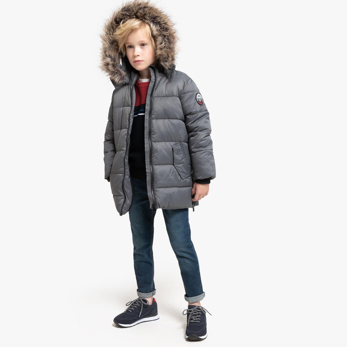 Куртка La Redoute Стеганая длинная с утепленным капюшоном 3 года - 94 см серый