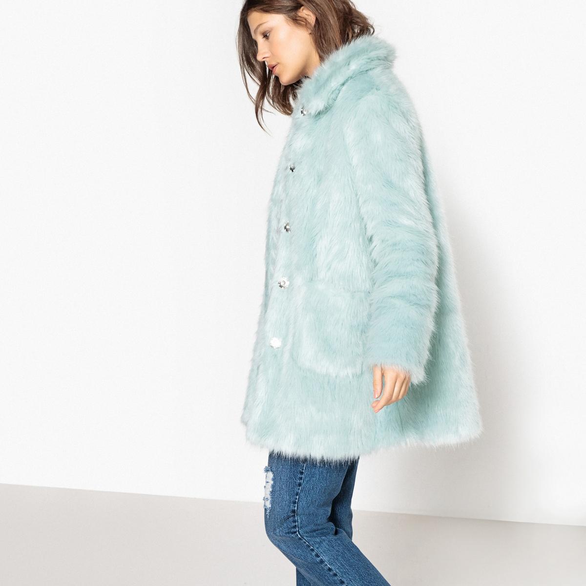 Пальто из цветного искусственного меха пальто из меха норки с отделкой мехом енота