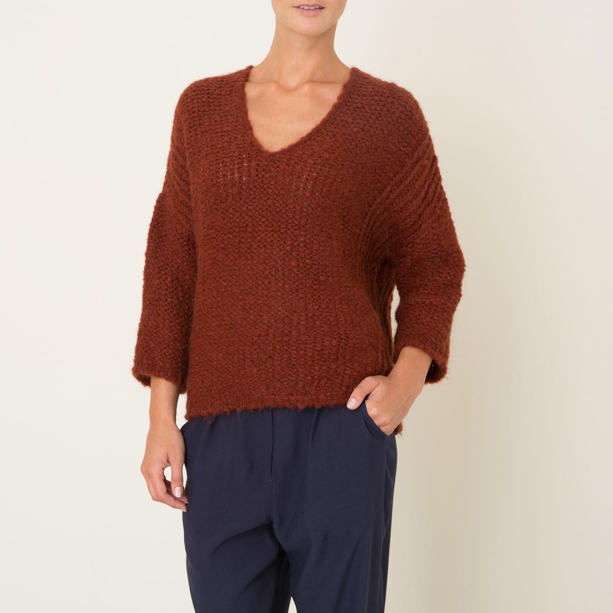 Пуловер короткийСостав и описание Материал : 56% акрила, 18% шерсти, 18% мохера, 8% полиамида Марка : STELLA FOREST<br><br>Цвет: кирпичный