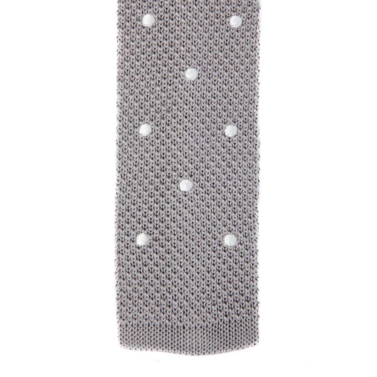 Cravate fine en maille tricot de pure soie à pois