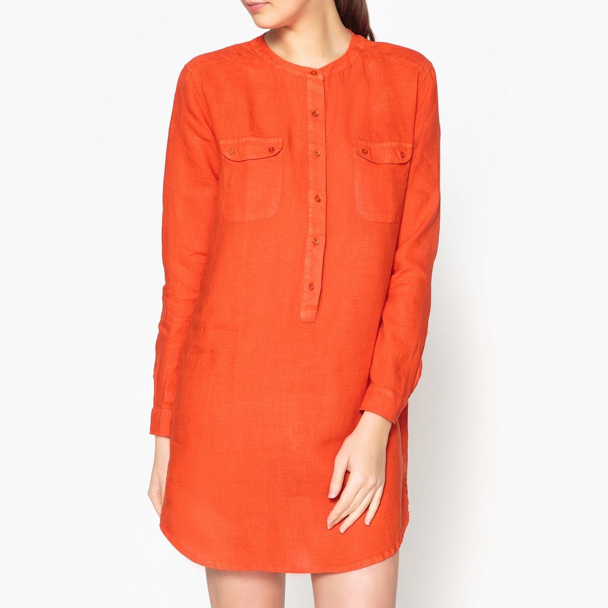 Платье-рубашка однотонное из льна LINNA рубашка harris wilson harris wilson ha019emqpi74