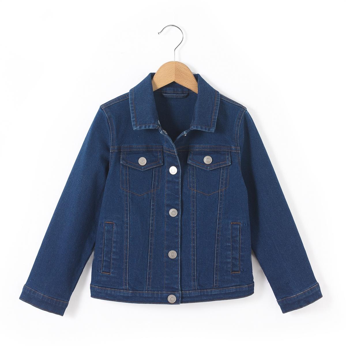 Куртка джинсовая, 3-12 летСлегка укороченная куртка из денима. Линялый эффект спереди и сзади. 2 нагрудных кармана с клапаном на пуговице, 2 боковых кармана. Состав и описаниеМатериал       99% хлопка, 1% эластанаМарка       R essentielУходСтирать и гладить с изнаночной стороныМашинная стирка при 40 °C с вещами схожих цветовМашинная сушка в умеренном режимеГладить при средней температуре.<br><br>Цвет: синий<br>Размер: 10 лет - 138 см.8 лет - 126 см.6 лет - 114 см.5 лет - 108 см.4 года - 102 см.3 года - 94 см.12 лет -150 см