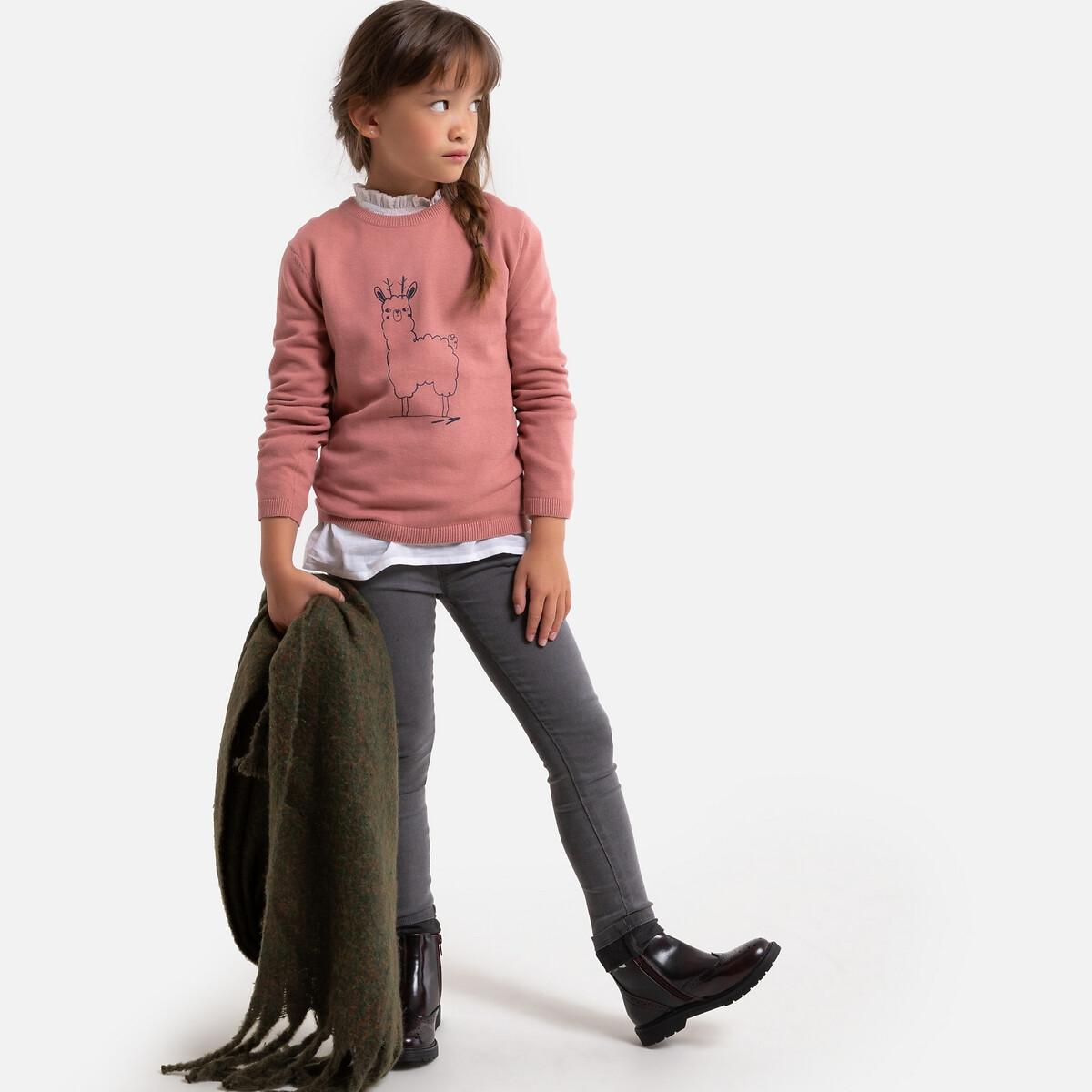Фото - Пуловер LaRedoute С круглым вырезом из тонкого трикотажа с принтом 3-12 лет 3 года - 94 см розовый платье laredoute с короткими рукавами из хлопчатобумажной газовой ткани 3 12 лет 3 года 94 см розовый