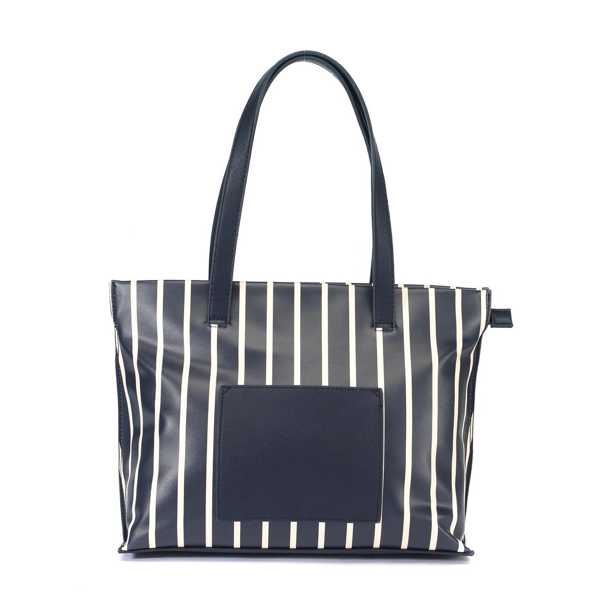 Сумка-шопер в полоску на молнии – LES PETITS PRIX1 внешний карман - стильная сумка-шопер в полоску - Подкладка 100% хлопка. 1 внутренний карман на молнии и 2 внутренних кармана для мобильного телефона .<br><br>Цвет: темно-синий<br>Размер: единый размер