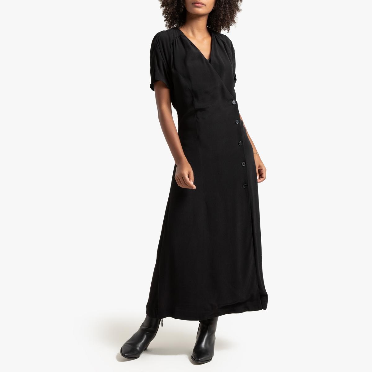 Платье La Redoute Длинное с запахом с короткими рукавами 34 (FR) - 40 (RUS) черный