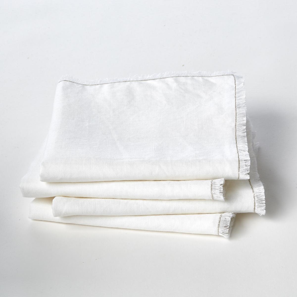 Полотенца La Redoute Столовых из стиранного льна Nodonet комплект из 4 белый цены
