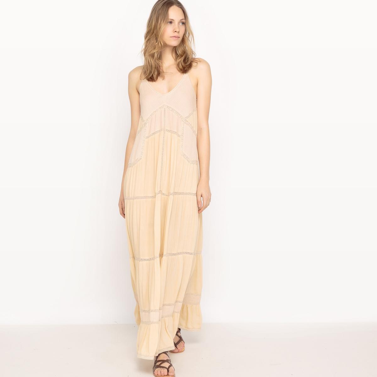 Платье длинное с открытой спинойДетали  •  Форма : расклешенная  •  Длинное  •  Тонкие бретели      •   V-образный вырез  Состав и уход •  100% вискоза  •  Следуйте советам по уходу, указанным на этикетке<br><br>Цвет: бледно-розовый,черный<br>Размер: XS