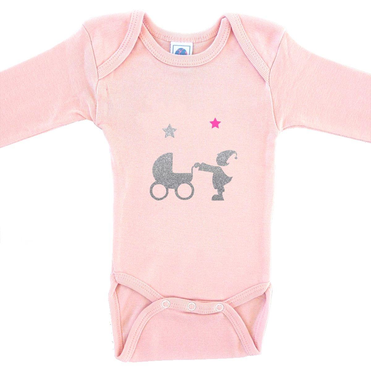 Body bébé en coton manches longues rose