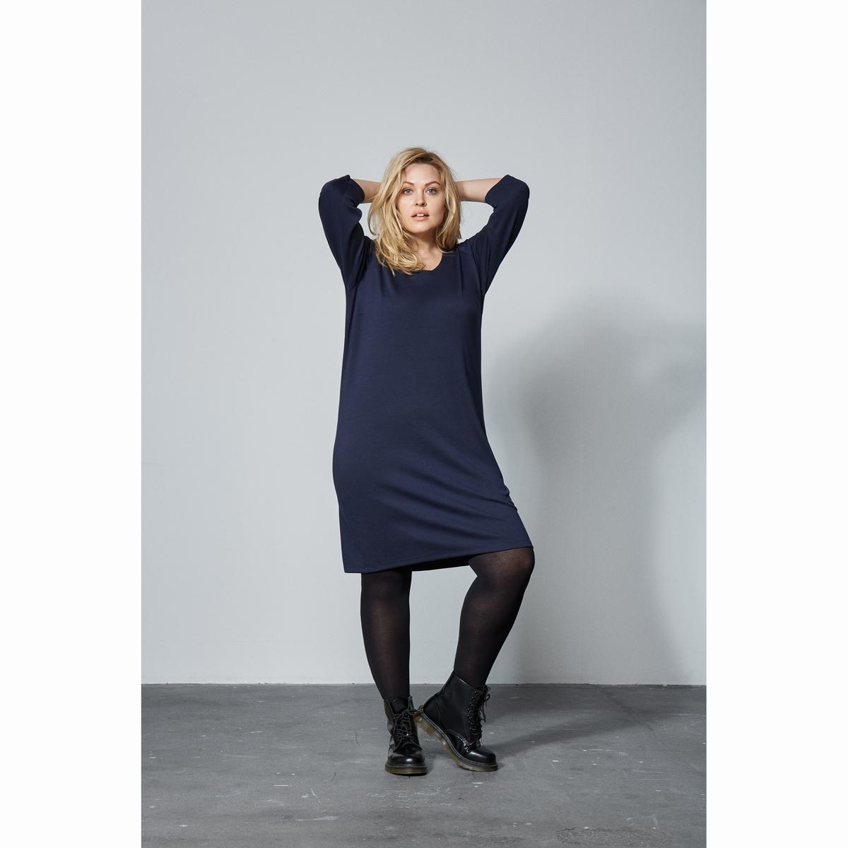 ПлатьеПлатье ZIZZI. Красивое платье с круглым вырезом и рукавами 3/4 .  Состав и описаниеМатериал: 79% полиэстера, 18% вискозы, 3% эластана.     Марка: ZIZZI<br><br>Цвет: темно-синий<br>Размер: 42/44 (FR) - 48/50 (RUS).50/52 (FR) - 56/58 (RUS)