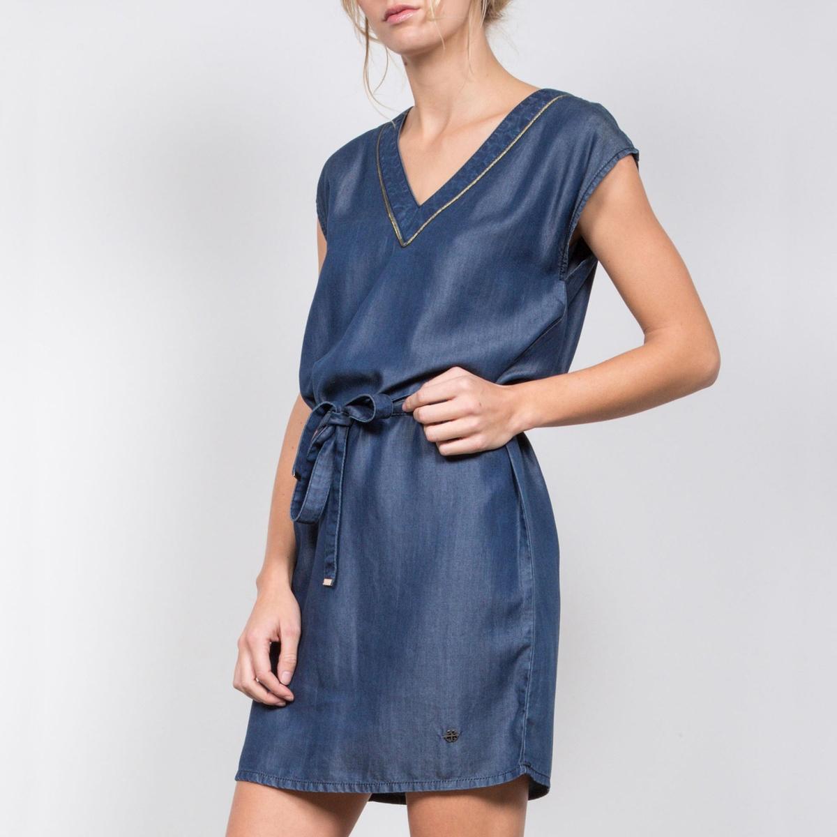Платье с короткими рукавами из тенселаДетали   •  Форма : расклешенная   •  укороченная •  Короткие рукава    •   V-образный вырез Состав и уход  •  100% лиоцелл • Просьба следовать советам по уходу, указанным на этикетке изделия<br><br>Цвет: темно-синий<br>Размер: S